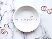 Load image into Gallery viewer, Personalized Jewelry Dish - Rose Gold Lettering