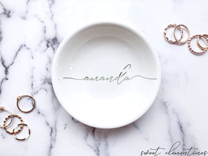 Personalized Jewelry Dish - Silver Lettering