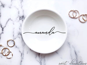 Personalized Jewelry Dish - Black Lettering