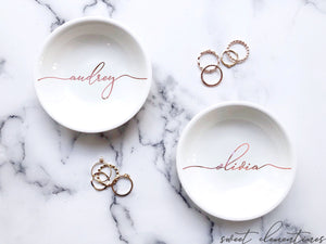 Personalized Jewelry Dish - Rose Gold Lettering