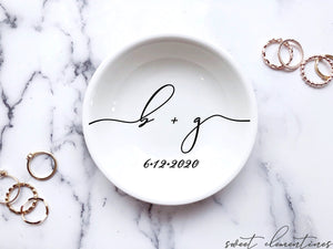 Engagement Ring Dish With Couple's Initials