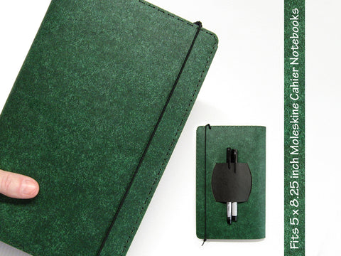 Large Heather Green Vegan Moleskine Cahier Notebook Cover w/ Pen Holder - Fits 5 x 8.25 inch Moleskine Cahiers
