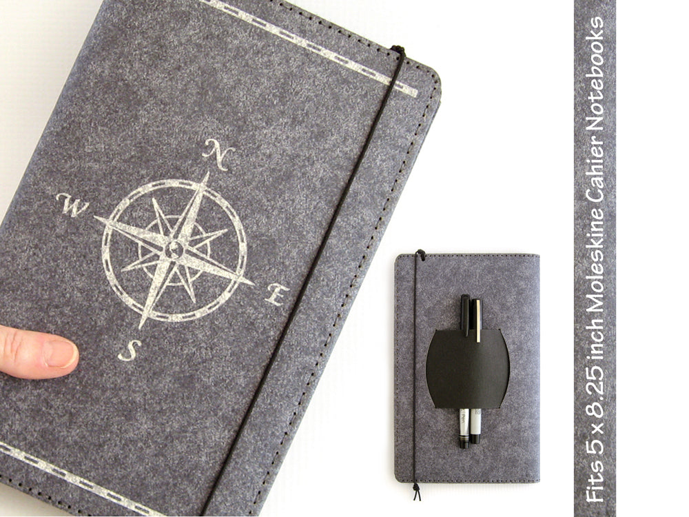 Compass Rose Large Vegan Moleskine Cahier Notebook Cover w/ Pen Holder - Heather Gray - Fits 5 x 8.25 inch Moleskine Cahiers