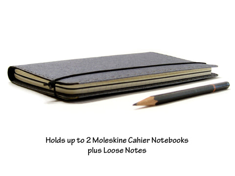 Large Heather Gray Vegan Moleskine Cahier Notebook Cover w/ Pen Holder - Fits 5 x 8.25 inch Moleskine Cahiers