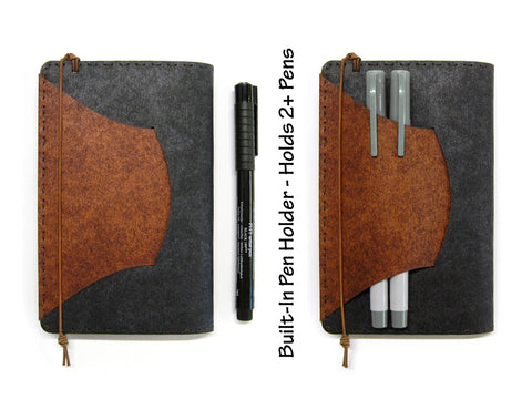 Black & Brown Vegan Moleskine Cahier Notebook Cover w/ Pen Holder - Fits 3.5 x 5.5 inch Moleskine Cahiers and Field Notes Memobooks