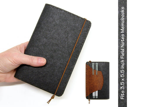 Black & Brown Vegan Field Notes Cover w/ Pen Holder - Fits 3.5 x 5.5 inch Field Notes Memobooks and Moleskine Cahier Notebooks