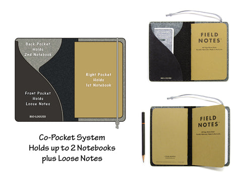 Personalized Vegan Field Notes Cover w/ Pen Holder - Black & Gray - Fits 3.5 x 5.5 inch Field Notes Memobooks and Moleskine Cahier Notebooks