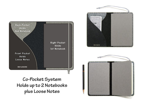 Black & Gray Vegan Moleskine Cahier Notebook Cover w/ Pen Holder - Fits 3.5 x 5.5 inch Moleskine Cahiers and Field Notes Memobooks