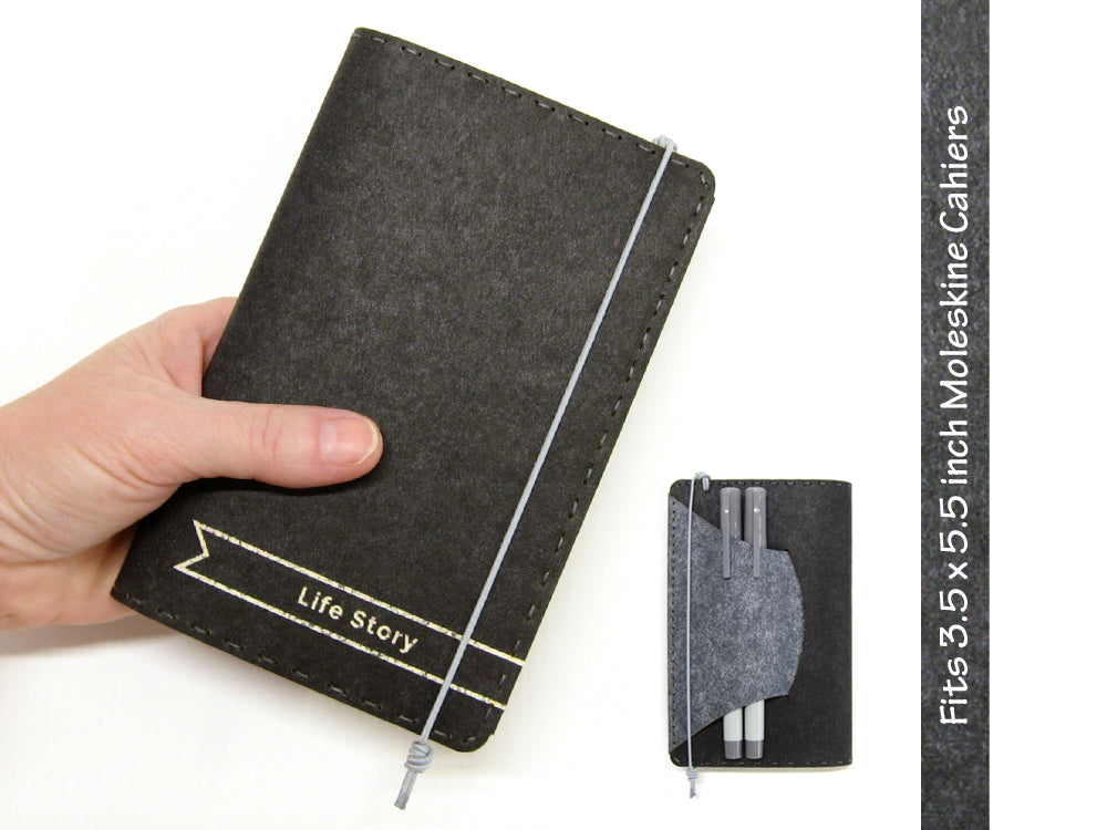 Personalized Vegan Moleskine Cahier Notebook Cover w/ Pen Holder - Black & Gray - Fits 3.5 x 5.5 inch Moleskine Cahiers and Field Notes Memobooks