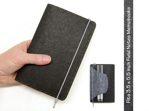 Black & Gray Vegan Field Notes Cover w/ Pen Holder - Fits 3.5 x 5.5 inch Field Notes Memobooks and Moleskine Cahier Notebooks