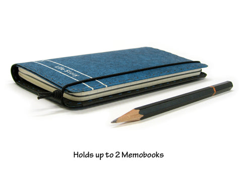 Personalized Vegan Field Notes Cover w/ Pen Holder - Heather Blue - Fits 3.5 x 5.5 inch Field Notes Memobooks and Moleskine Cahier Notebooks