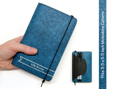 Personalized Vegan Moleskine Cahier Notebook Cover w/ Pen Holder - Heather Blue - Fits 3.5 x 5.5 inch Moleskine Cahiers and Field Notes Memobooks