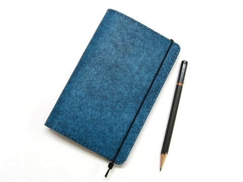 Heather Blue Vegan Moleskine Cahier Notebook Cover w/ Pen Holder - Fits 3.5 x 5.5 inch Moleskine Cahiers and Field Notes Memobooks