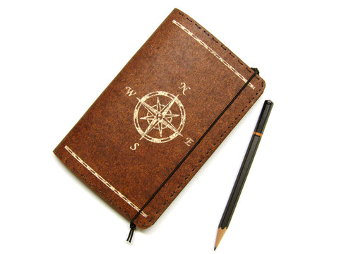 Compass Rose Vegan Moleskine Cahier Notebook Cover w/ Pen Holder - Heather Brown - Fits 3.5 x 5.5 inch Moleskine Cahiers and Field Notes Memobooks