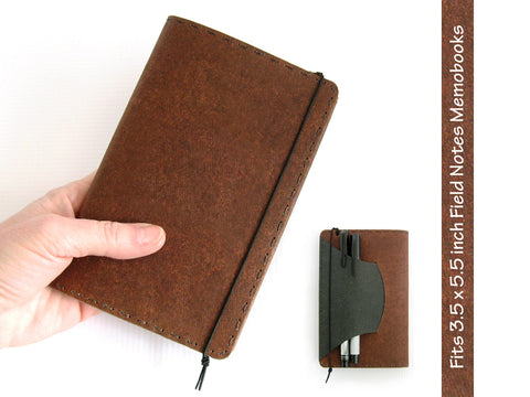Heather Brown Vegan Field Notes Cover w/ Pen Holder - Fits 3.5 x 5.5 inch Field Notes Memobooks and Moleskine Cahier Notebooks