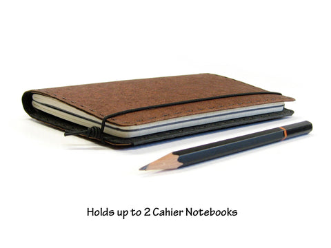 Heather Brown Vegan Moleskine Cahier Notebook Cover w/ Pen Holder - Fits 3.5 x 5.5 inch Moleskine Cahiers and Field Notes Memobooks