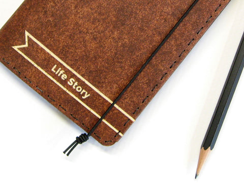 Personalized Vegan Moleskine Cahier Notebook Cover w/ Pen Holder - Heather Brown - Fits 3.5 x 5.5 inch Moleskine Cahiers and Field Notes Memobooks