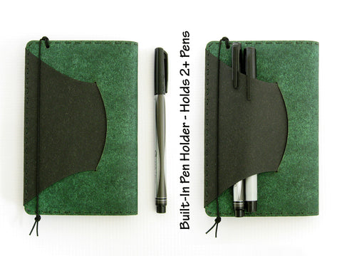 Personalized Vegan Moleskine Cahier Notebook Cover w/ Pen Holder - Heather Green - Fits 3.5 x 5.5 inch Moleskine Cahiers and Field Notes Memobooks