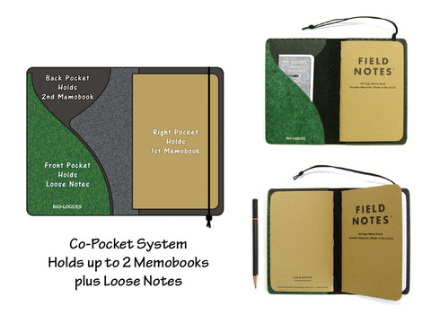 Personalized Vegan Field Notes Cover w/ Pen Holder - Heather Green - Fits 3.5 x 5.5 inch Field Notes Memobooks and Moleskine Cahier Notebooks