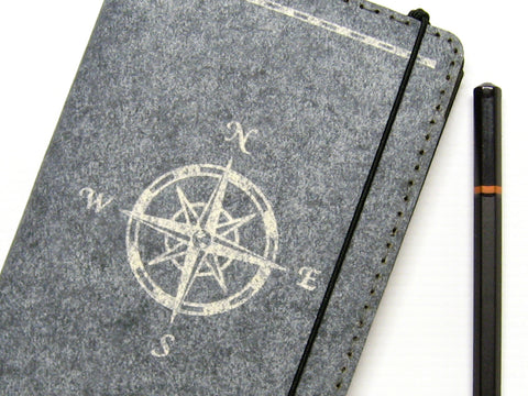 Compass Rose Vegan Field Notes Cover w/ Pen Holder - Heather Gray - Fits 3.5 x 5.5 inch Field Notes Memobooks and Moleskine Cahier Notebooks