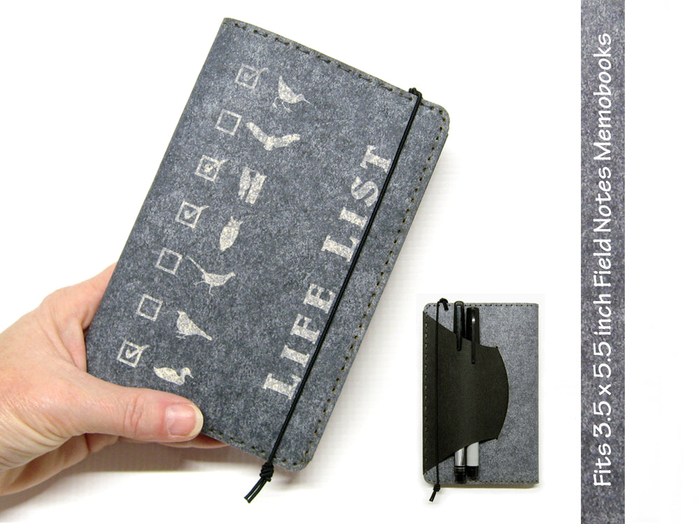 Life List Vegan Field Notes Cover w/ Pen Holder - Heather Gray - Fits 3.5 x 5.5 inch Field Notes Memobooks and Moleskine Cahier Notebooks