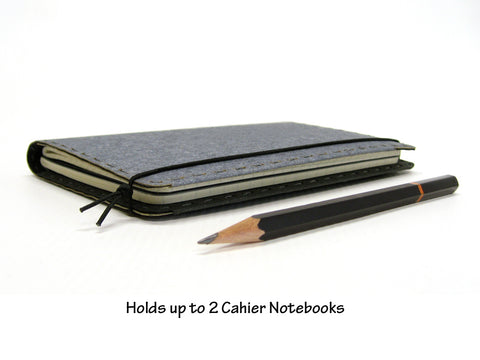 Life List Vegan Moleskine Cahier Notebook Cover w/ Pen Holder - Heather Gray - Fits 3.5 x 5.5 inch Moleskine Cahiers and Field Notes Memobooks