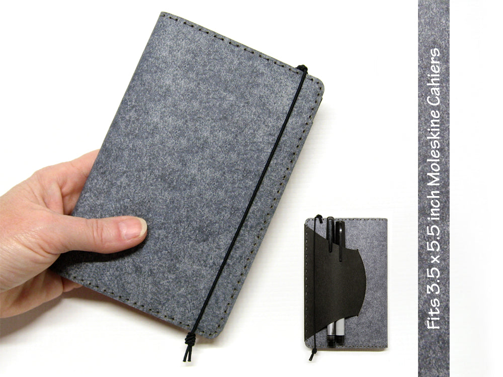 Heather Gray Vegan Moleskine Cahier Notebook Cover w/ Pen Holder - Fits 3.5 x 5.5 inch Moleskine Cahiers and Field Notes Memobooks