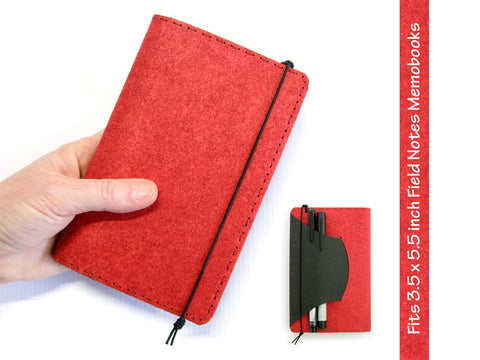 Heather Red Vegan Field Notes Cover w/ Pen Holder - Fits 3.5 x 5.5 inch Field Notes Memobooks and Moleskine Cahier Notebooks