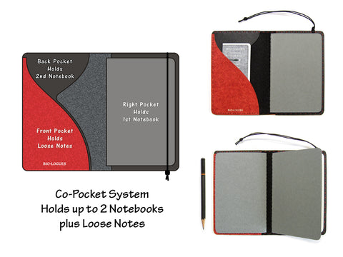 Heather Red Vegan Moleskine Cahier Notebook Cover w/ Pen Holder - Fits 3.5 x 5.5 inch Moleskine Cahiers and Field Notes Memobooks