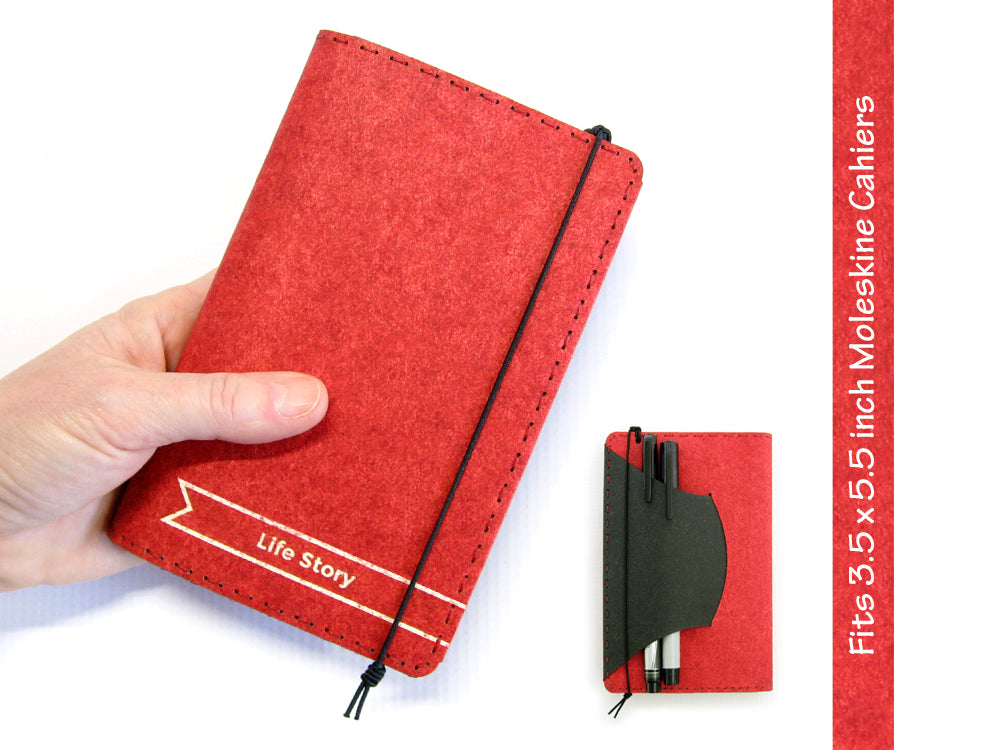 Personalized Vegan Moleskine Cahier Notebook Cover w/ Pen Holder - Heather Red - Fits 3.5 x 5.5 inch Moleskine Cahiers and Field Notes Memobooks