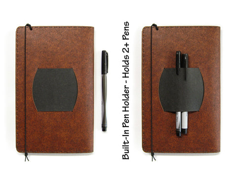 Large Heather Brown Vegan Moleskine Cahier Notebook Cover w/ Pen Holder - Fits 5 x 8.25 inch Moleskine Cahiers