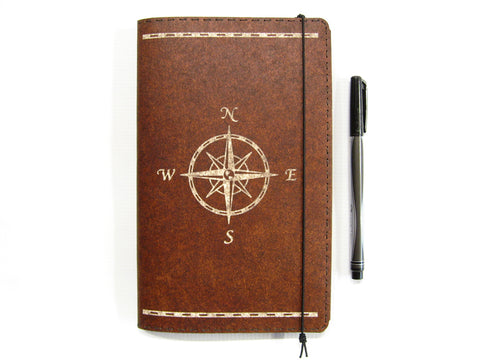 Compass Rose Large Vegan Moleskine Cahier Notebook Cover w/ Pen Holder - Heather Brown - Fits 5 x 8.25 inch Moleskine Cahiers