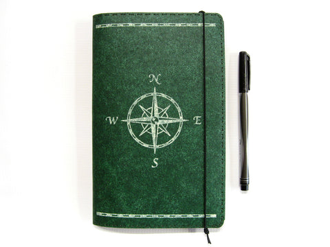 Compass Rose Large Vegan Moleskine Cahier Notebook Cover w/ Pen Holder - Heather Green - Fits 5 x 8.25 inch Moleskine Cahiers