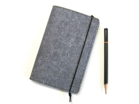Heather Gray Vegan Field Notes Cover w/ Pen Holder - Fits 3.5 x 5.5 inch Field Notes Memobooks and Moleskine Cahier Notebooks