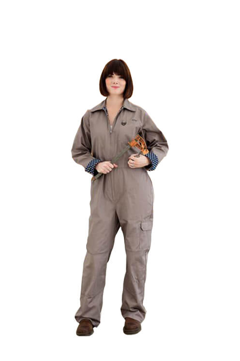 Rosies Classic Coverall | Greige With Navy Polka Dot Trim