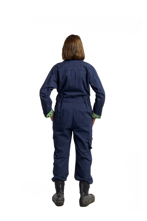 Rosies Classic Coverall | Navy with Green Trim