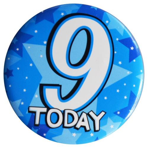Birthday Badge - Age 9 - Boy - Assorted Designs