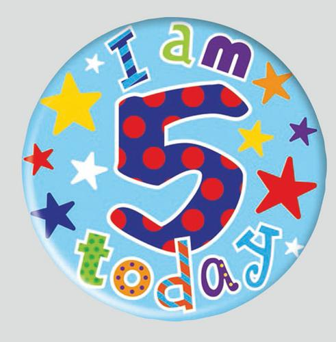 Birthday Badge - Age 5 - Boy - Assorted Designs