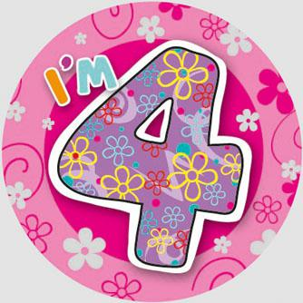 Birthday Badge - Age 4 - GIRL - Assorted Designs