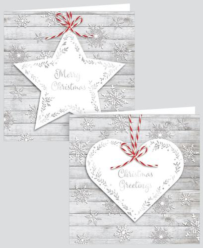 12 SQUARE CARDS STAR & HEART