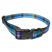 Nylon Adjustable Collar Tartan Blue sz 1-2