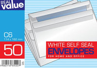 Real Value 50 White Envelopes Size 114 x 162 cm C6