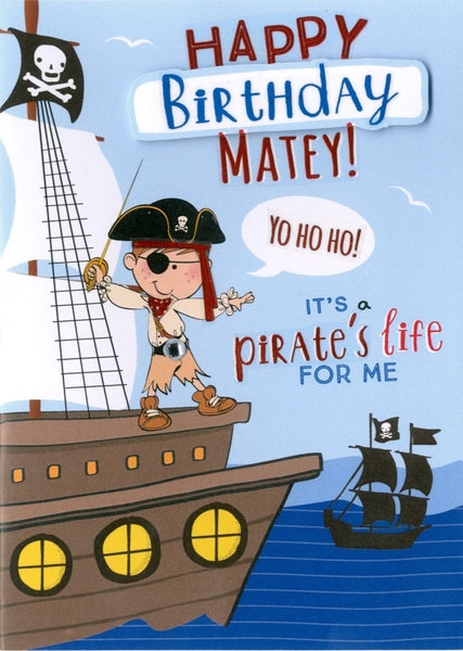 Greeting Card - Open - Pirate