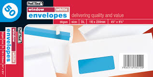 50 White Window Envelopes 110 x 220mm DL
