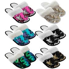 Adult Sequin Slippers ( Various Colours)