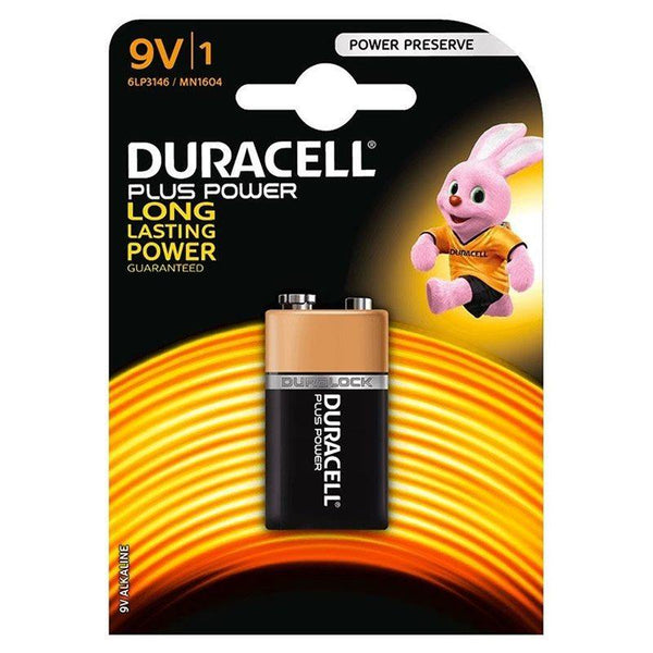 9V Duracell Plus Power Long Lasting Power Battery