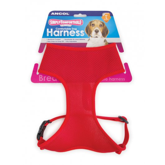 Comfort Mesh Dog Harness Red Medium