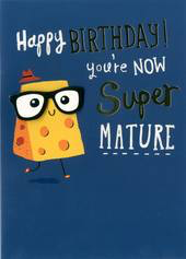 Birthday Card - Cheese with Glasses & Hat- Blank
