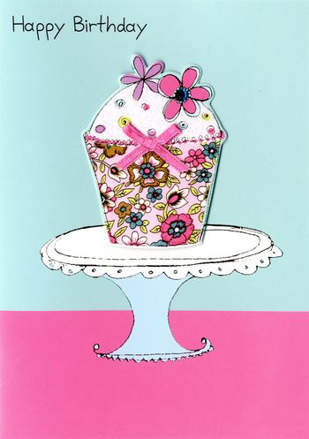 Birthday Greeting Card - Cake on Plate