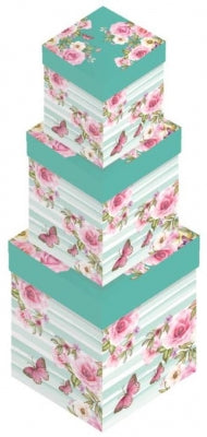 Floral Stripe Square Gift Box Set 3PC